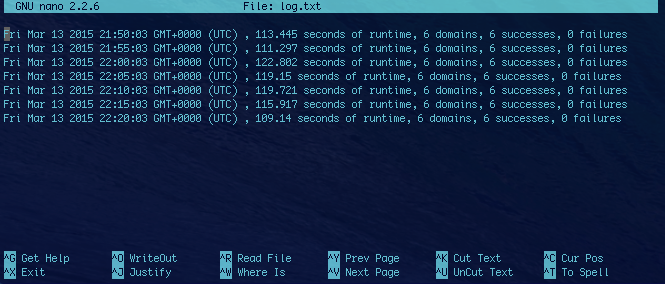 View of the log file after the program runs