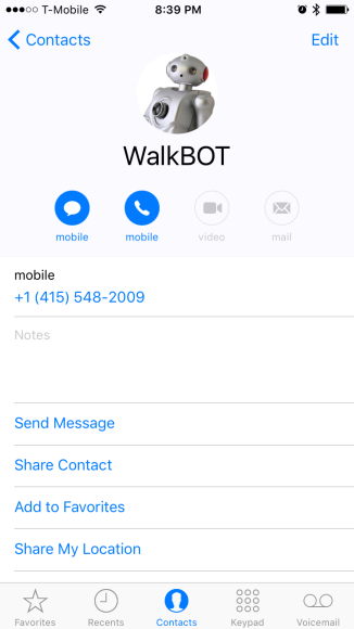 Walkbot in my contacts